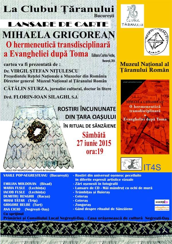 """""""O hermeneutică transdisciplinară a Evangheliei după Toma"""", lansare de carte la Clubul Țăranului"""