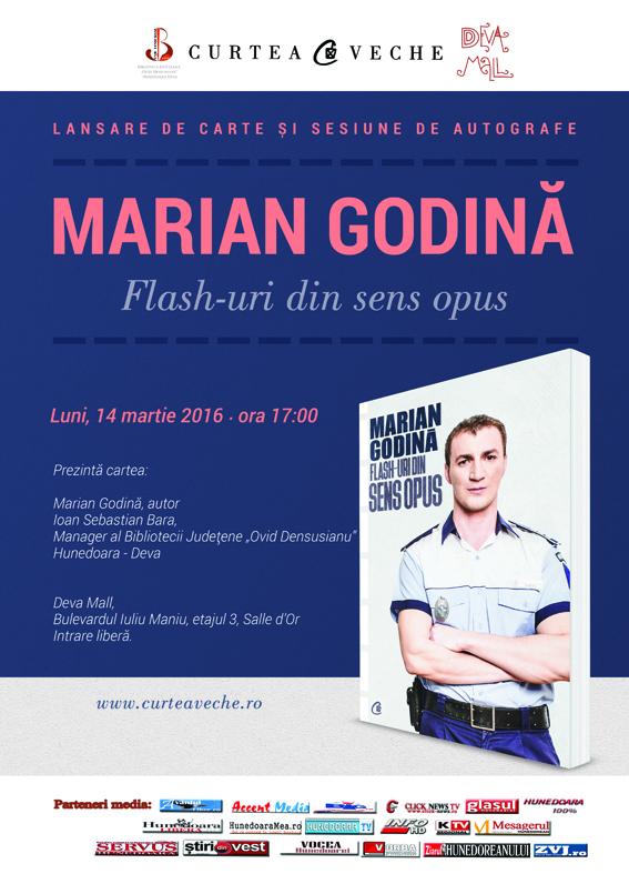 """Marian Godină lansează la Deva volumul """"Flash-uri din sens opus"""""""