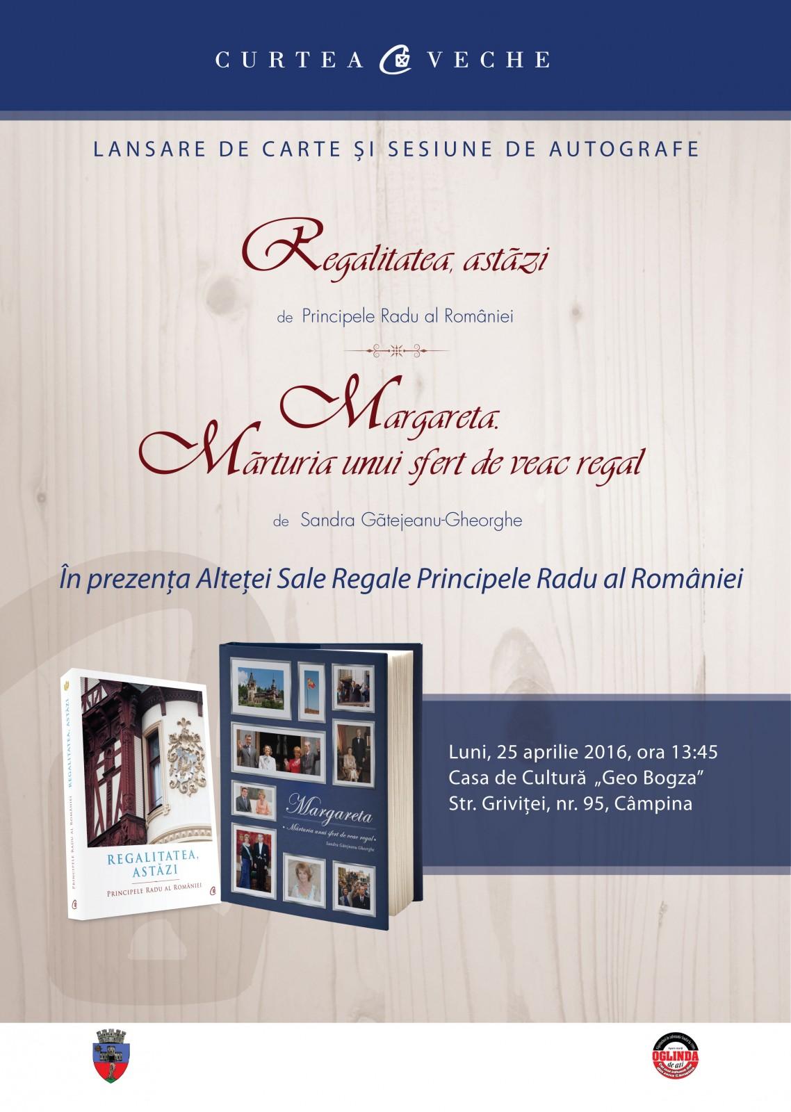 Prezentare de carte regală în prezența  ASR Principele Radu al României la Câmpina
