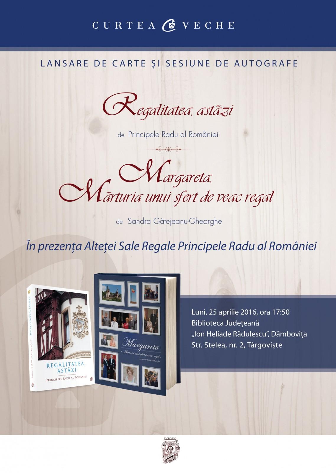 Prezentare de carte regală în prezența  ASR Principele Radu al României la Târgoviște