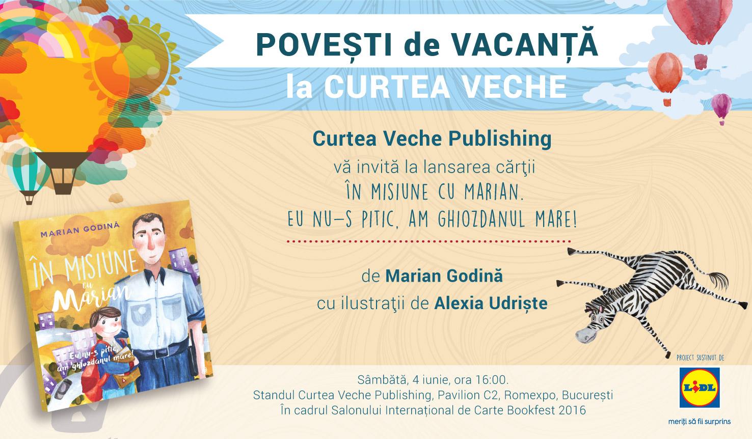 """Marian Godină pornește """"În misiune"""" alături de cei mici la Bookfest.  Prima sa carte pentru copii, lansată la Curtea Veche pe 4 iunie"""