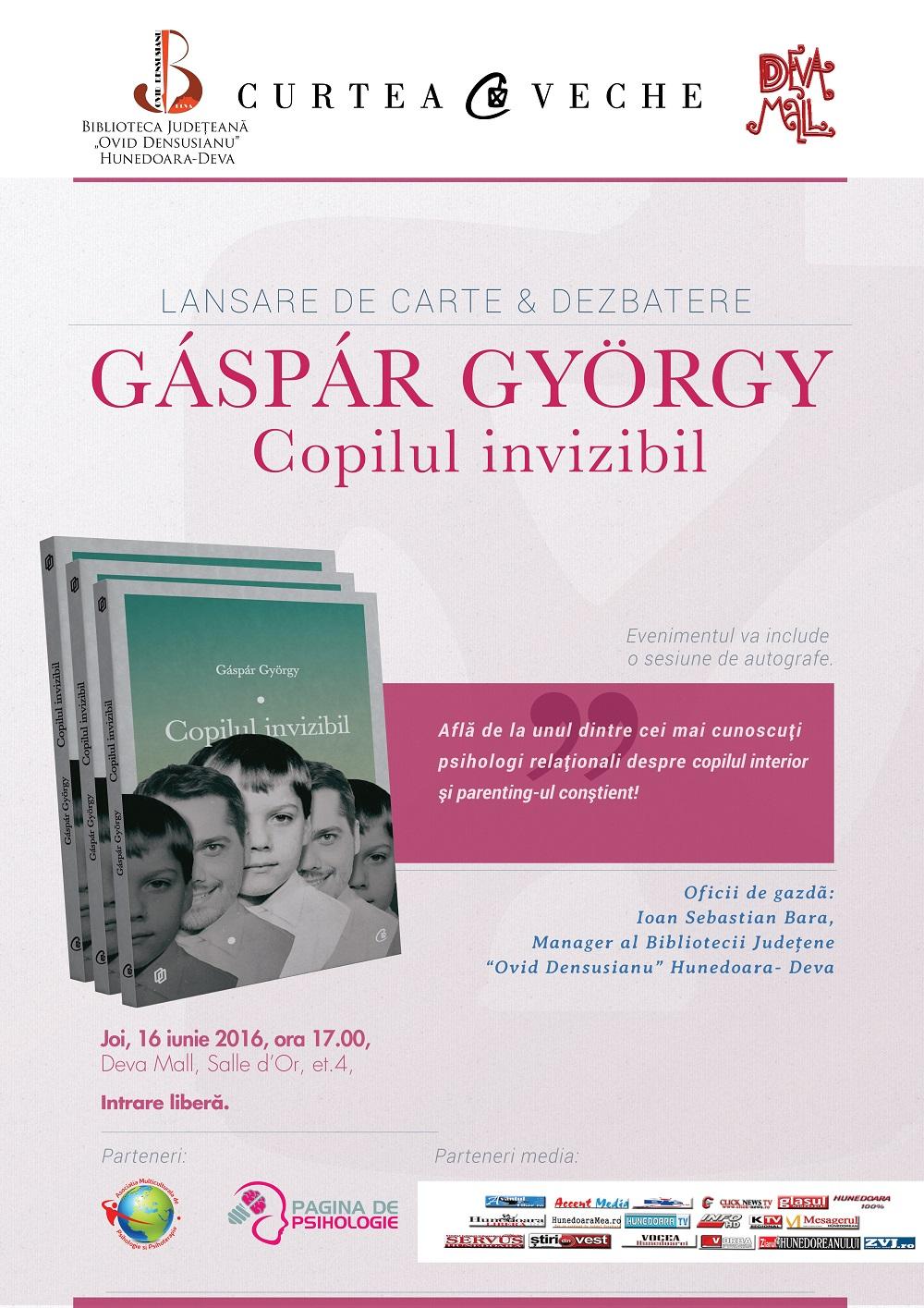"""Cum putem deveni părinți mai buni:  Întâlnire la Deva cu psihologul Gáspár György și cartea """"Copilul invizibil"""""""