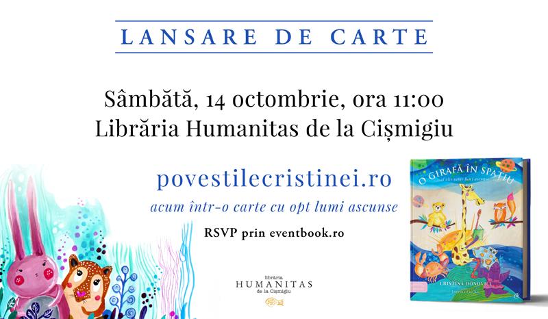 """Citește o poveste: PovestileCristinei.ro acum într-o carte pentru pitici, părinți și bunici – """"O girafă în spațiu și alte șapte lumi ascunse"""", de Cristina Donovici"""