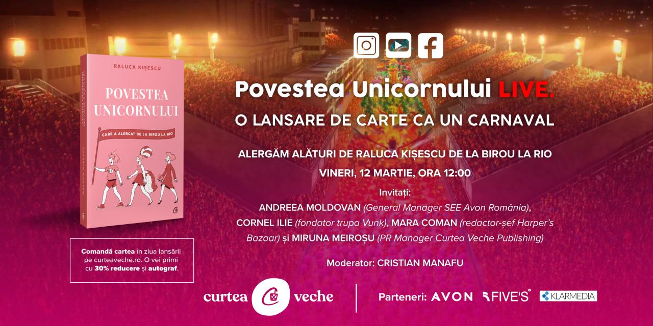 """O lansare de carte ca un carnaval: """"Povestea unicornului"""" de Raluca Kișescu, LIVE pe 12 martie"""